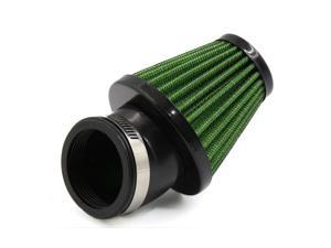 48mm Inner Dia Green Car Vehicle Auto Flange Air Filter w Adjustable Clamp