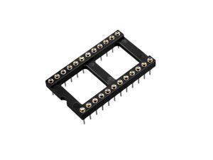 2pcs 2.54mm Pitch Dual Row DIP IC Socket Adaptor Solder Type 24 Round Pin 15.24mm Row Pitch