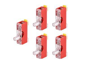 Fuse Holder FS-101 Single Pole with Indicator Light 6mm x 30mm Fuse Included 250V 10A Red 5Pcs