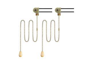 Pack of 2 sets Fan Light Switch with 50cm//20inch Brass Pull Chain Wood Knob