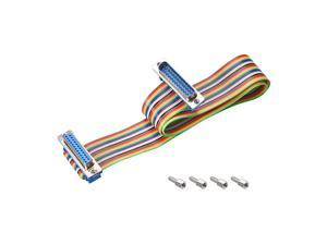 IDC Rainbow Wire Flat Ribbon Cable DB25 Male to DB25 Female Connector 2.54mm Pitch 19.7inch Length