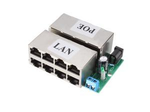 8 Port POE Injector Splitter DC 12-48V Power Over Ethernet Injector Adapter Power Supply Module 80 x 60 x 22mm
