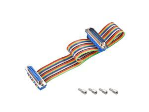 IDC Rainbow Wire Flat Ribbon Cable DB25 Male to DB25 Female Connector 2.54mm Pitch 11.8inch Length