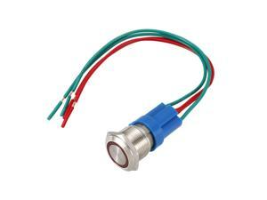 Momentary Metal Push Button Switch 19mm Mounting Dia 1NO 24V Red LED Light with Socket Plug Wires 1pcs