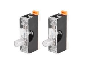 Fuse Holder Single Pole with Indicator Light 6mm x 30mm Glass Fuse Included 250V 10A Black 2Pcs