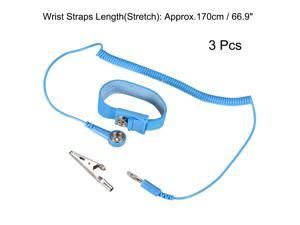 Anti Static Wrist Straps, ESD Components, Stainless Steel Magnetic Tray Grounding Wire Alligator Clip 3pcs