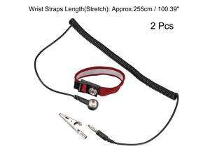 Anti Static Wrist Straps, ESD Components, Stainless Steel Magnetic Tray Grounding Wire Alligator Clip Red Black 2pcs