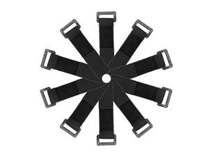 Reusable Cable Ties 6 Inch Hook and Loop Cord Wrap with Buckle Black 10pcs