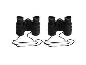 2pcs Toy Binoculars 4X30 Compact Foldable Binoculars Shock Proof Black with Neck Strap for Bird Watching Hiking Camping