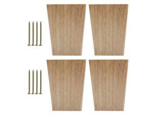 4.7 Inch Solid Wood Furniture Legs Square Tapered Bench Closet Feet Replacement Height Adjuster Set of 4