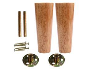 6 Inch Round Solid Wood Furniture Legs Sofa Bench Couch Chair Closet Cabinet Feet Replacement Height Adjuster Set of 2
