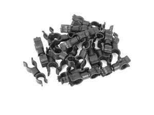 20pcs Car Plastic Fasteners Oil Pipe Clip Retainer Double Hole Holder Water Tube Clamp Black 13.3x39mm