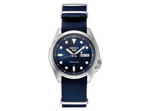 Seiko SRPE63 5 Sports 24-Jewel Stainless Steel Watch with Blue Nylon Strap