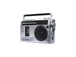 Ion Audio RETROROCKERX Retro Rocker Portable Retro-Style Compact Boombox - Silver