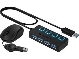 Sabrent 4-Port USB 3.0 Hub + Mini Travel USB Optical Mouse with Retractable Cable