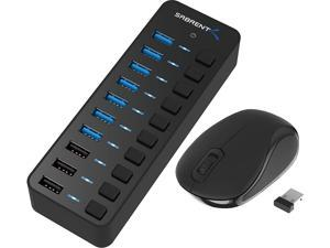 Sabrent 60W 10-Port USB 3.0 Hub + Mini Travel 2.4GHz Wireless Mouse with Nano Receiver