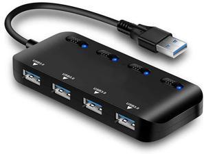 ZLDGYG SMDMM USB 3.0 HUB 4 Ports Fast Speed Thin USB3.0 Splitter Cable LED Indicator Seperate Switches for PC Mouse Keyboard Computer