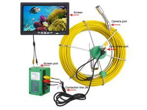 """50M IP68 Waterproof Drain Pipe Sewer Inspection Camera System 7""""LCD 1000 TVL Camera with 6W LED Lights"""