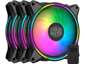 Cooler Master MasterFan MF120 Halo Duo-Ring Addressable RGB Lighting 120mm 3 Pack w/ 24 Independently-Controlled LEDS, Absorbing Rubber Pads, PWM Static Pressure for Computer Case & Liquid Radiator