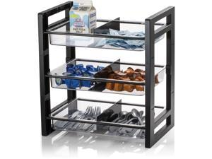 """Officemate Condiment Tower 3-Tray 15-3/5""""Wx10-2/5""""Lx17""""H Black 28032"""
