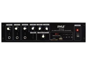 PyleHome - 240 Watt Public Address Power Amplifier with 70V Output & Mic Talkover, USB/SD Card MP3 Player, Built-in FM Radio & LED Display