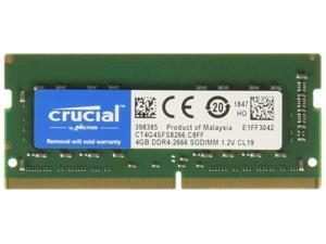 Crucial 4GB Single DDR4 2666 MT/s (PC4-21300) CL19 x8 SODIMM 260-Pin Memory - CT4G4SFS8266