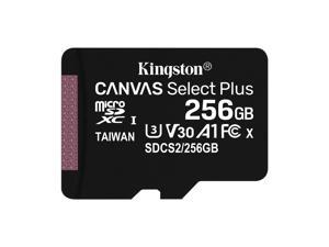 Kingston Canvas Select Plus - Flash memory card (microSDXC to SD adapter included) - 256 GB - A1 / Video Class V30 / UHS