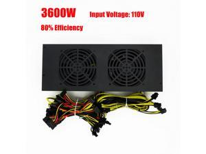 80% 3600W Mining Power Supply for Ethereum Bitcoin Miner 12GPU Antminer S9 AC:200-260V Input