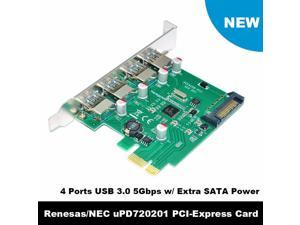 4 Port PCIE PCI-e to USB 3.0 Expansion Card - USB 3.0 Hub Controller PCI Express Card Adapter w/ Extra SATA 15 pin Power