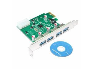 4 Port PCIE PCI-e to USB 3.0 Expansion Card - USB 3.0 Hub Controller PCI Express Card Adapter w/ Extra Molex 4pin LP4 Power