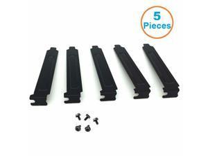 5pcs/lot Black Hard Steel PCI Slot Covers Bracket w/ Screws, Full Profile Expansion Dust Filter Blanking Plate for PCI