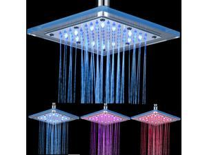 LED Temperature Control Shower Head 3-color Change Bathroom Fixed Top Spray Stainless Steel + Glass SDH-B5