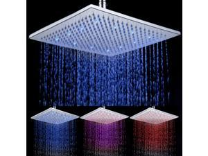 12 inches Square Bathroom Stainless Steel LED Light Rain 3 Color Flashing Temperature Sensor LED Top Shower Head SDH-A7