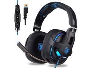 Sades R15 Gaming Headset 7.1 Surround Stereo Sound USB Gaming Headphone 53mm Drivers with Mic for PC Smartphone