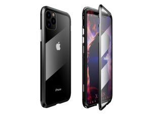 """Magnetic Adsorption Metal Case For iPhone 11 Pro Max 6.5"""" Tempered Glass Back Magnet Cover"""