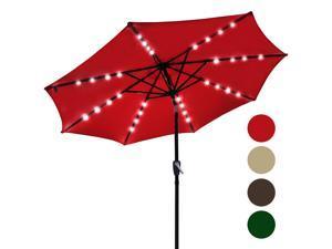 9' Outdoor Patio 32 LED Solar Powered Aluminium Umbrella Crank Tilt UV30+ 180g