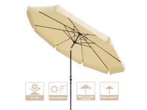 10Ft 8 Rib Outdoor Patio Umbrella Market Valance Crank Handle Push to Tilt Beach