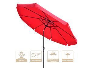 10Ft 8 Rib Outdoor Patio Umbrella Market Valance Crank Tilt Garden Backyard