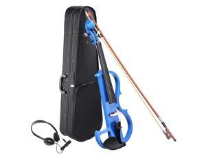 4/4 Electric Violin Full Size Wood Silent Fiddle Fittings Headphone Blue