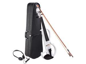 4/4 Electric Violin Full Size Wood Silent Fiddle Fittings Headphone White