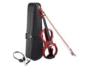 4/4 Electric Violin Full Size Wood Silent Fiddle Bow Headphone Case Jujube Red