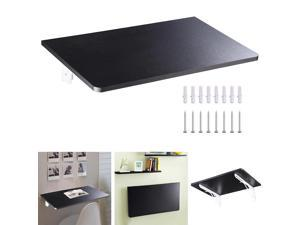 """Wall Mounted Floating Folding Computer Desk 23 5/8"""" x 15 3/4"""" 50lbs Weight Capacity PC Table Black"""