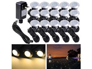 15pcs LED Deck Light Garden Mall Stair Yard Landscape Warm White Lamp Waterproof