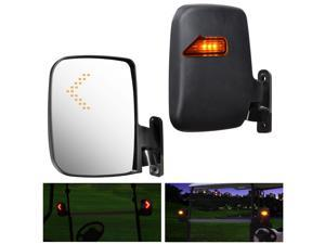 2pcs Universal Golf Cart Rear View Folding Side Mirror with LED Indicators for EZGO Club Car Yamaha