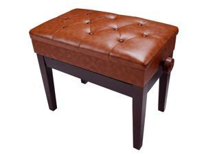 Piano Bench Adjustable Height Leather Padded Keyboard Organ Seat Throne Storage