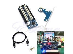 PCI-E Express X1 to Dual PCI Riser Extend Adapter Card With USB 3.0 Cable 2.6 FT Z09 Drop ship
