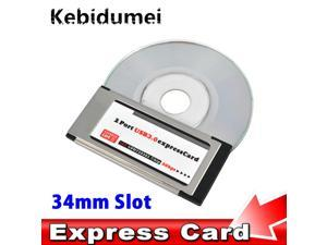 Kebidumei PCI Express to USB 3.0 Dual 2 Ports PCI-E Card Adapter for NEC Chipset 34 MM Slot ExpressCard Converter 5 Gbps PCMCIA