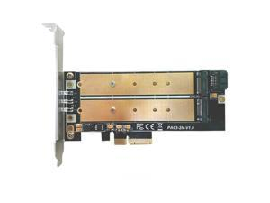 PCI-E 4X to M2 SSD Adapter B Key M.2 NGFF M key NVME SSD PCI-E Dual Interface Card LED Low Profile Bracket Support 2230-22110 M2
