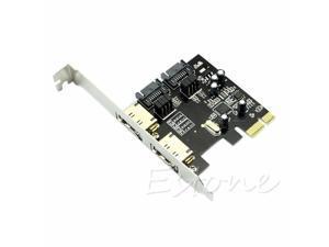1 Set 2 Ports Esata PCI-E PCI Express 6Gbps to SATA 3.0 SATA III ASM106 Card Adapter High Speed