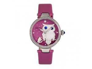 Bertha Rosie Leather-Band Watch - Silver/Pink